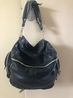 AU499 • Buy Alexander Wang Black Jane Bag Slouch Silver Zip Shoulder Leather Bag RRP $1200