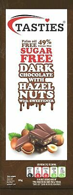 Tasties Sugar Free Dark Chocolate With Hazelnut - Pack Of 6 X 85g • 8.99£
