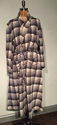 Vintage Mid 20th C Grey Plaid Wool Dressing Gown Robe 46  Chest  Needs Tlc • 65£