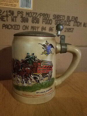 $ CDN263.03 • Buy 1980 Budweiser Lidded Champion Clydesdales Beer Stein Green Cases Red Letters