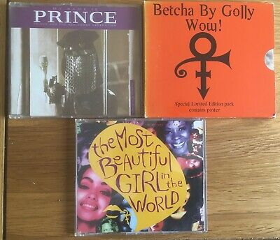 PRINCE 3x CD Singles BEAUTIFUL GIRL / MY NAME IS / BETCHA BY GOLLY + Poster Best • 2.99£