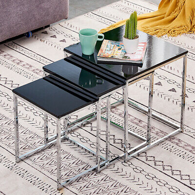 High Gloss Black Nest Of 3 Nested Tables Side End Coffee Chrome Legs Living Room • 27£