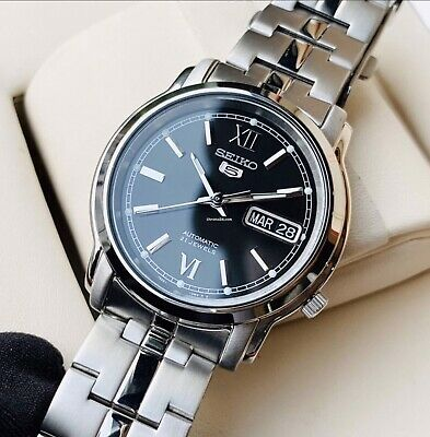 $ CDN205.11 • Buy Seiko 5 Automatic Black Dial Silver Stainless Steel Mens Watch  RRP £169