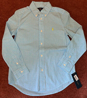 BNWT Boys Designer Ralph Lauren Blue & White Gingham Long Sleeve Shirt Age 7 • 5£