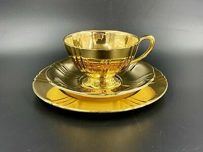 $ CDN49 • Buy Royal Winton Grimwades Golden Age 24K Gold Tea Trio Set England