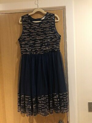 Girls Blue Gold Sequin Party Christmas Dress Yumi Debenhams Age 11-12 Years • 12£