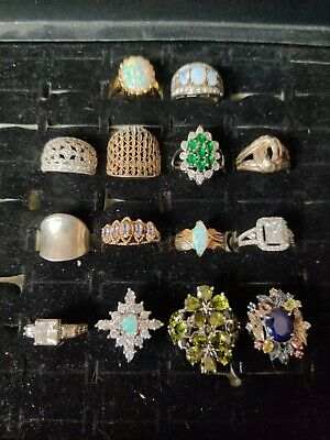 $ CDN80.63 • Buy Sterling Silver Ring Lot Of 14 .925 Various Sizes