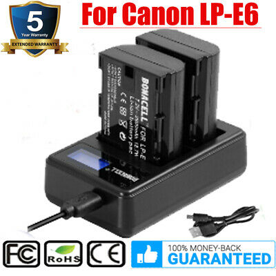 2X LP-E6 LP-E6N Battery W/USB LCD Dual Charger For Canon EOS 70D 60D 80D Camera • 15£