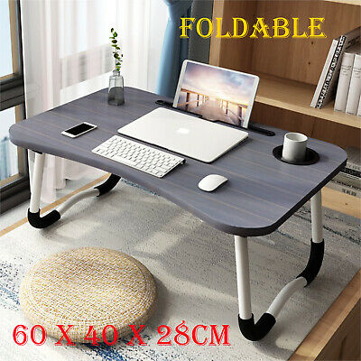 Folding Laptop Table Bed Tray Portable Lap Desk Notebook Foldable Stand Cup Slot • 14.99£