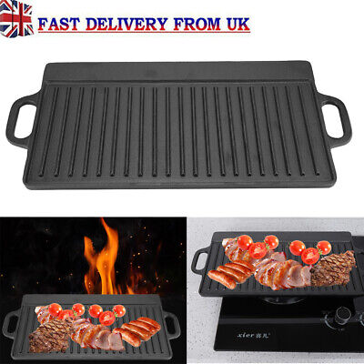 Cast Iron Non-Stick Grill Pan Grill BBQ Ridged Skillet Reversible Griddle Plate • 22.49£