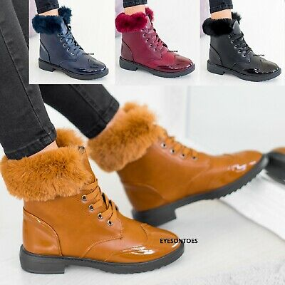 Ladies Womens Faux Fur Lined Warm Grip Sole Winter Ankle Trainers Boots Shoes Sz • 9.95£