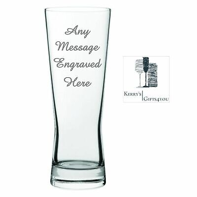 Personalised Engraved Tall Beer Glass - Christmas Gift For Men Women Him Her NB • 7.99£