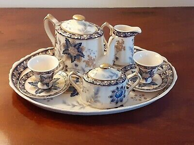 Miniature Regal Fine Bone China Tea Set With Matching Tray Blue White Gold. • 22£