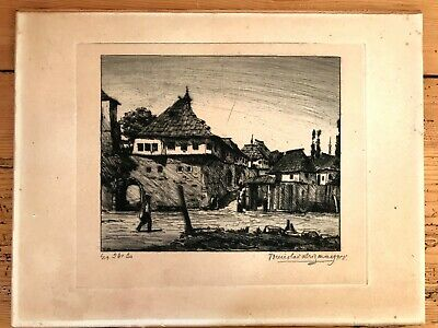 European Street Scene Etching, Signed And Dated 1918 • 5£