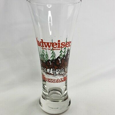 $ CDN23.40 • Buy Budweiser Pilsner Fluted Beer Glass Clydesdale Horse Wagon Vintage 1989