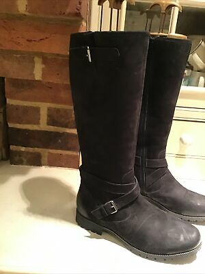 Hotter  Belle  Black Oiled Nubuck Leather Knee High Boots Uk 6. Rrp £135 • 35.99£