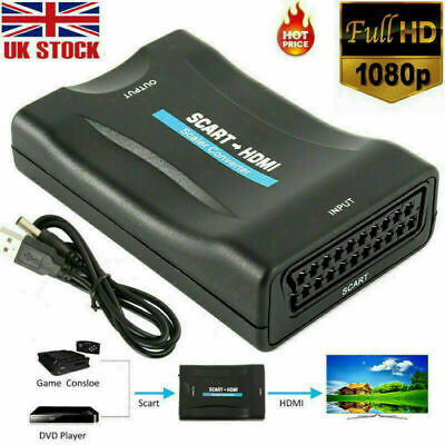 SCART To HDMI Adapter HD 1080P Video Audio Converter USB Cable TV DVD SkyBox MA • 6.99£