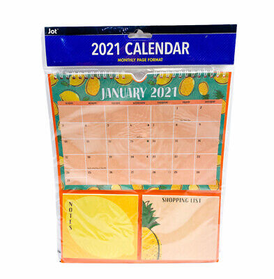 £9.50 • Buy 2021 SPIRAL Hanging MONTHLY Wall Calendar Planner Note Pads Colorful Pineapple