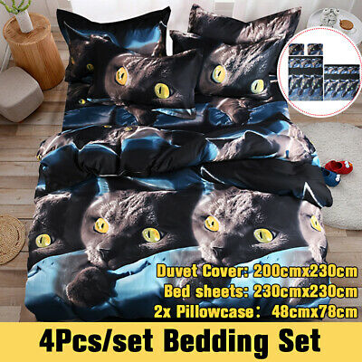 3D Duvet Cover Bedding Set With Fitted Sheet & Pillowcases Double King Size • 20.19£