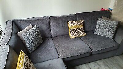 Grey Left Hand Corner Sofa 245cm Wide X 212 Cm Deep At Corner COLLECTION ONLY • 151£