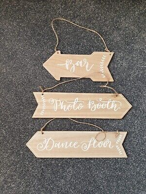 Wooden Wedding Arrow Signs By Ginger Ray • 2.50£