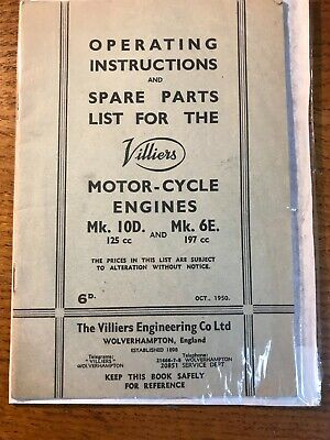 Villiers Operating Instructions & Spare Parts List Motor-Cycle Engines MK 10D/6E • 14.95£