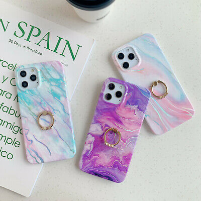 AU5.78 • Buy For IPhone 12 11 Pro Max XS 7 8 Plus Glossy Marble Case Cover With Finger Ring