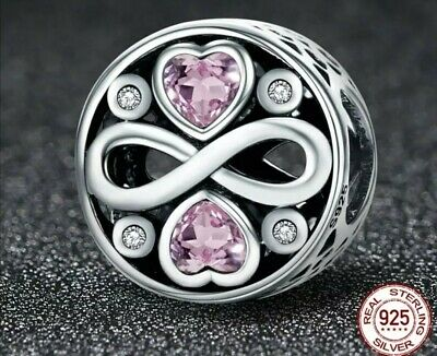 925 Sterling Silver Infinity Love Pink Crystal Heart Pandora-fit Charm Bead UK • 10.49£