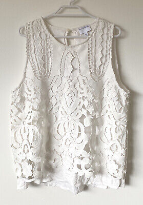 AU35 • Buy WITCHERY - Womens White Lace Top Blouse Size L 14