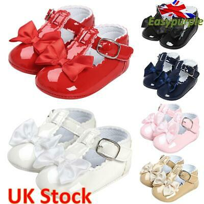 Newborn Baby Girl Princess Bow Shoes Spanish Party Soft Sole Sneakers Pram Shoes • 6.99£