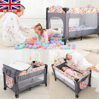 £66.46 • Buy New BABY Crib Bedside Cot Bed Foldable Travel Playpen With Mattress Next To Mom