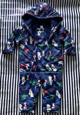 Debenhams Blue Zoo Boys Snow Suit All In One Suit Animal Print Age 18-24months • 4£