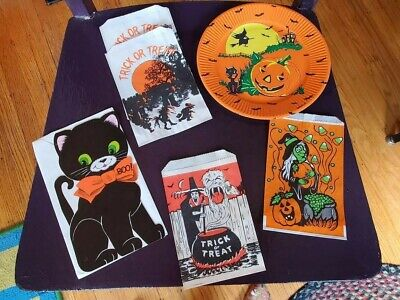 $ CDN13.20 • Buy VTG HALLOWEEN LOT Bags Card CAT NORCROSS Plate Witch Pumpkin Treat Or Treat Owl