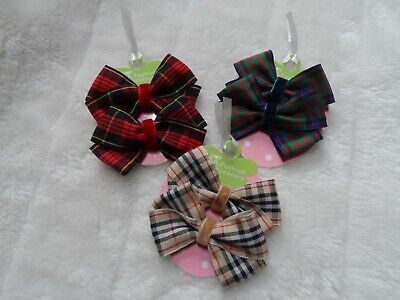 Pigtail Bows Checkered Hair Bows Fabric Hair Bows Set of 2 Red and White Hair Bows