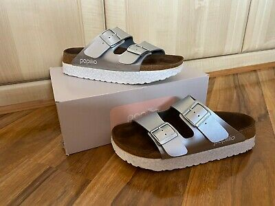 Papillio Birkenstock Arizona Wedge Heel Mules/Sandal In Silver / Sz 39 UK 6 VGC! • 37£