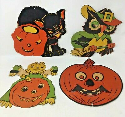 $ CDN97.79 • Buy Lot Of (4) Original Vintage 1950s Classic Paper Halloween Decorations