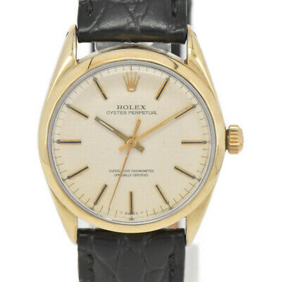 $ CDN2011.99 • Buy ROLEX Oyster Perpetual 1025 Cal.1570 K18/SS/Leather Automatic Mens Watch J#98632