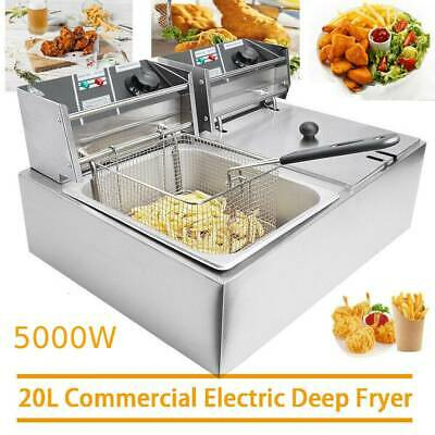 £75.99 • Buy 20L Commercial Electric Deep Fryer Fat Chip Twin Dual Tank Stainless Steel 12LOi
