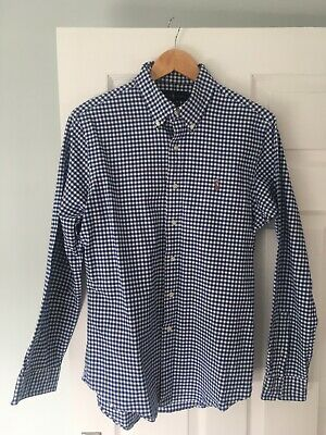 Polo Ralph Lauren Slim Fit Stretch Oxford Mens Dark Blue Gingham Shirt Large • 4.90£