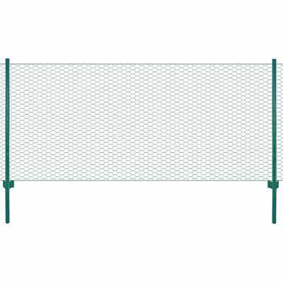 VidaXL Wire Mesh Fence With Posts Steel 25m Green Garden Panel Field Enclosure • 47.99£