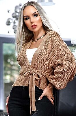 New Women's Latika Tie Up Front Knitted Cardigan Top, Tan, One Size (8-12) • 17.50£