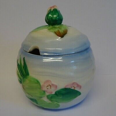 Vintage Clarice Cliff Water Lilly Jam Pot. • 49.99£
