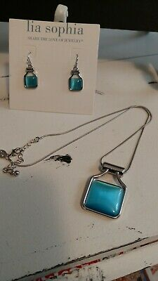 $ CDN34.24 • Buy New WT Lia Sophia Blue Jade Necklace & Earrings Set  BLUE SKY