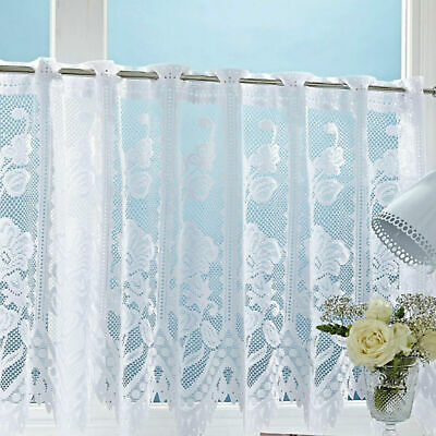 £2.85 • Buy Andrea Thick Cotton Look White Lace Window Cafe Net Curtain 3 Drops By The Metre