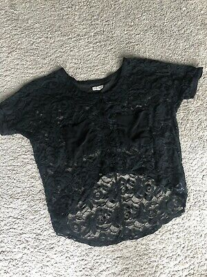 AU10 • Buy Urban Outfitters Silence + Noise Black Lace Top Oversize Tee XS S M 8 10 12