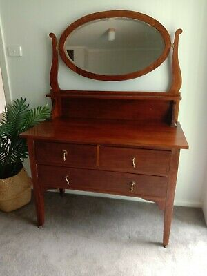 AU10.50 • Buy Antique Timber Dressing Table With Oval Guilded Mirror