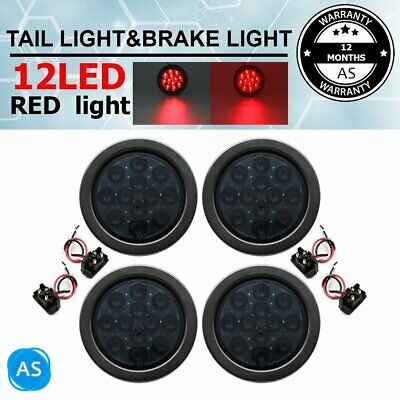 AU31.99 • Buy 4 X 4  12LED Sealed Round Smoked Red Tail Stop Brake Signal Lights Car Truck Bus