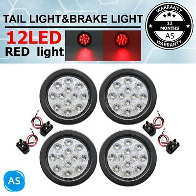 AU42.99 • Buy 4 X 4  Round Clear Red 12LED Sealed Stop Brake Signal Lights For Car Trailer Bus