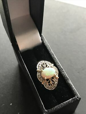 9ct Yellow Gold Opal & Diamond Ring With Size L1/2 (6 USA) Vtg Boxed • 160£