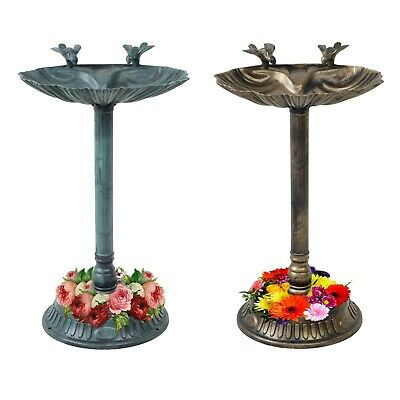 Garden Traditional Ornament Bird Bath Water Bowl With Planter Bronze/Green • 18.99£